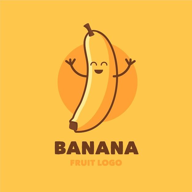 幸せなバナナのキャラクターのロゴ Premiumベクター