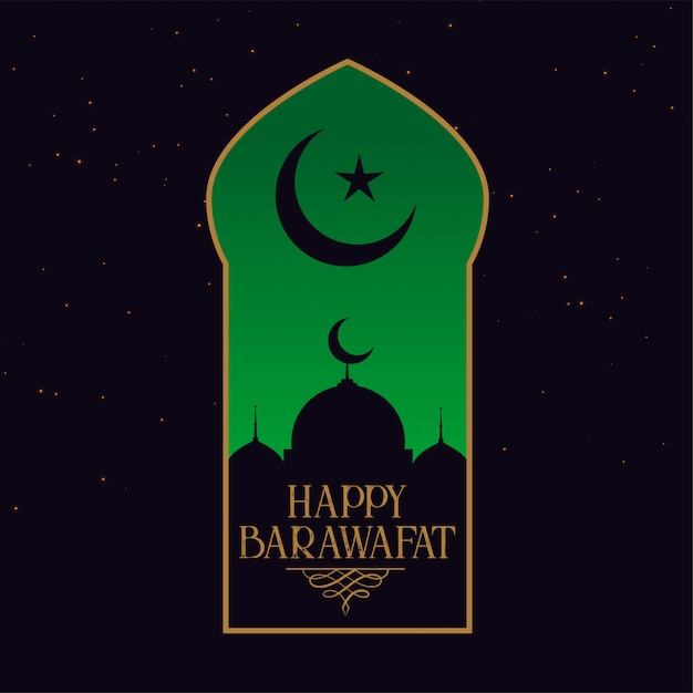 Happy barawafat festival card template Free Vector