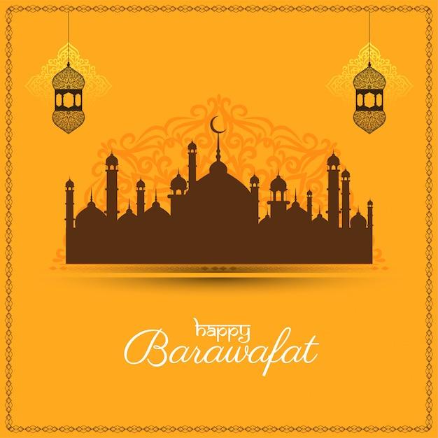 Happy barawafat festival желтая открытка Бесплатные векторы