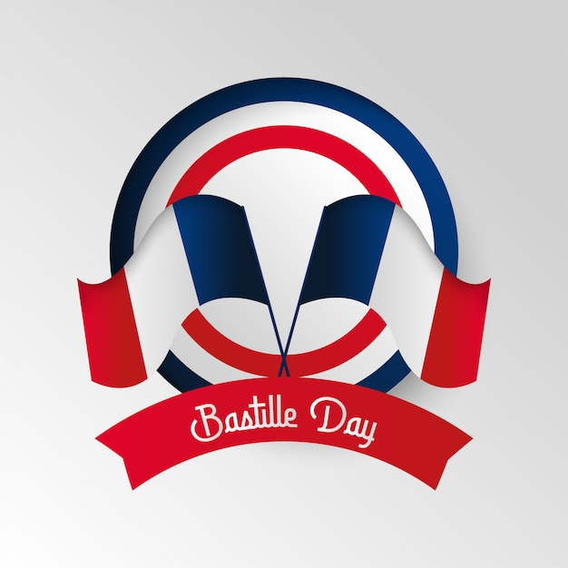 Happy bastille day background illustration  . french national day illustration Premium Vector
