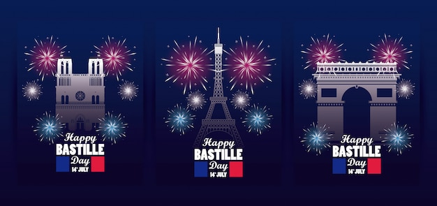 Happy bastille day celebration with flags and monuments Premium Vector