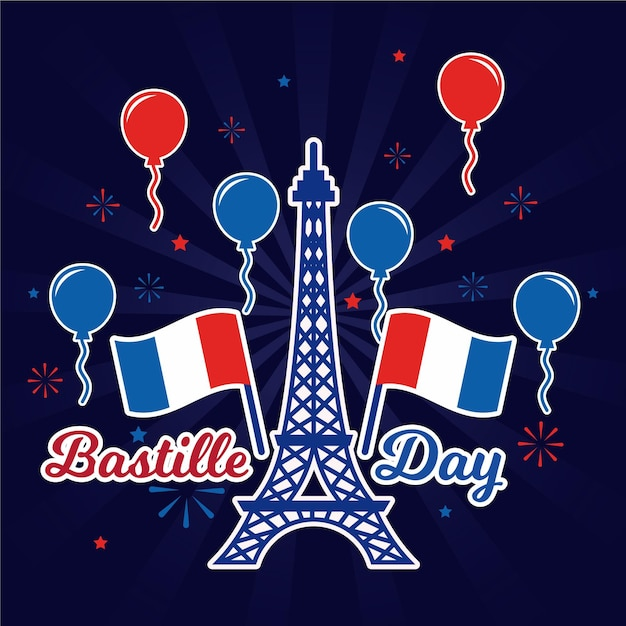 Happy bastille day eiffel tower and balloons Free Vector