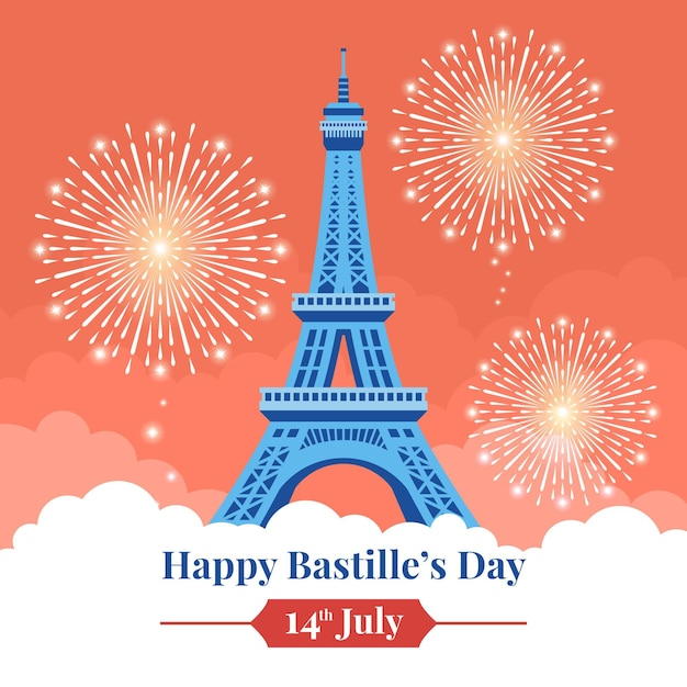 Happy bastille day with fireworks and eiffel tower Free Vector
