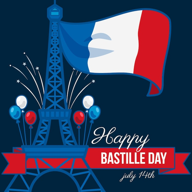 Happy bastille day with flag and eiffel tower Free Vector
