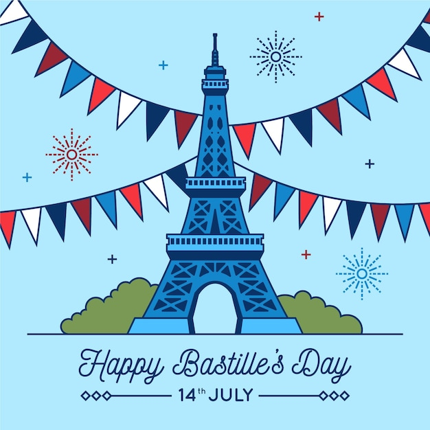 Happy bastille day with garlands and eiffel tower Free Vector