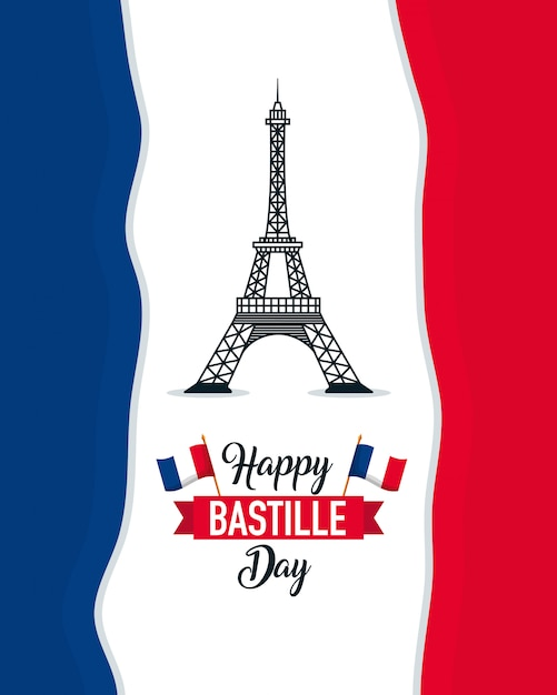 Happy bastille day Free Vector