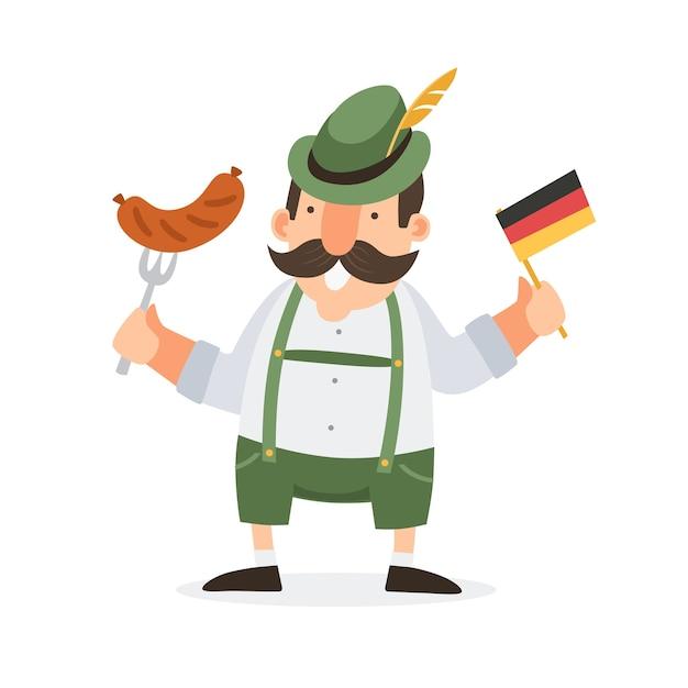 Счастливый баварский улыбающийся человек в народном костюме с колбасой и немецким флагом. иллюстрация. Premium векторы