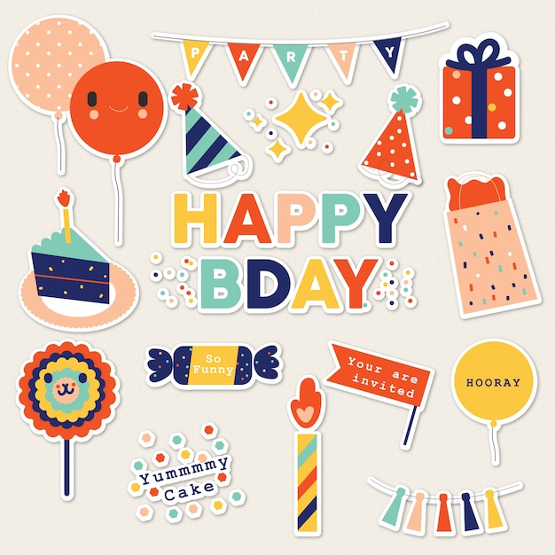 Happy bday stickers Premium Vector