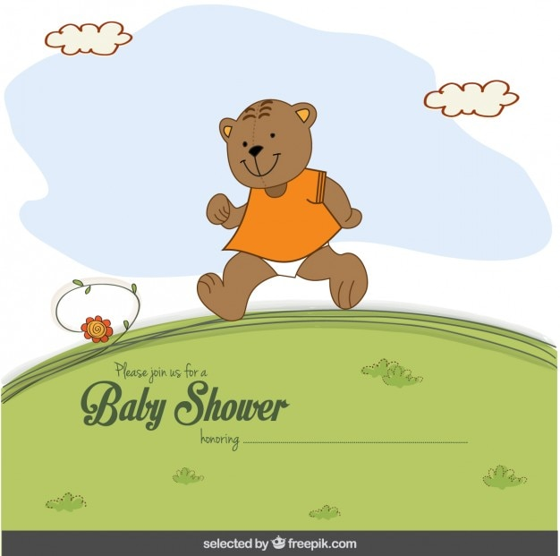 Happy bear baby shower card