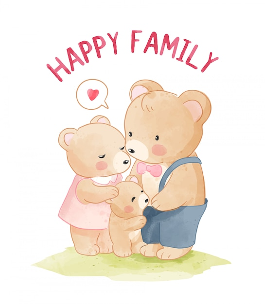 幸せなクマ家族漫画イラスト Premiumベクター