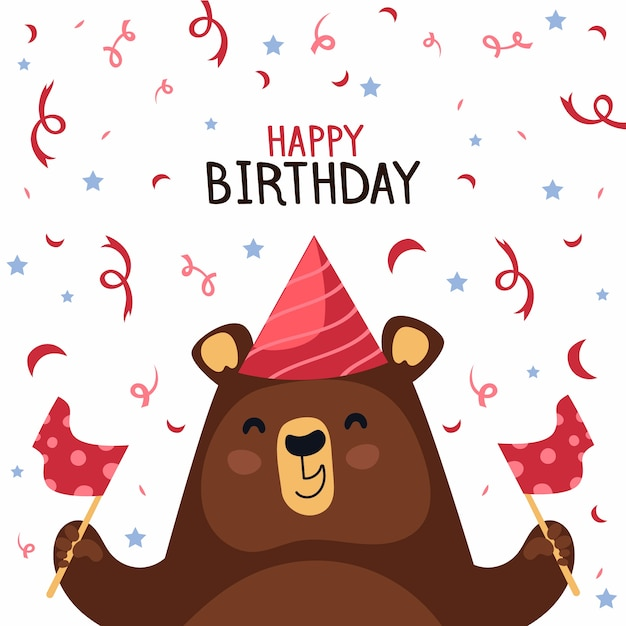 Happy bear with party hat and confetti Free Vector