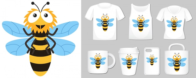 Of happy bee on different types of product template Free Vector