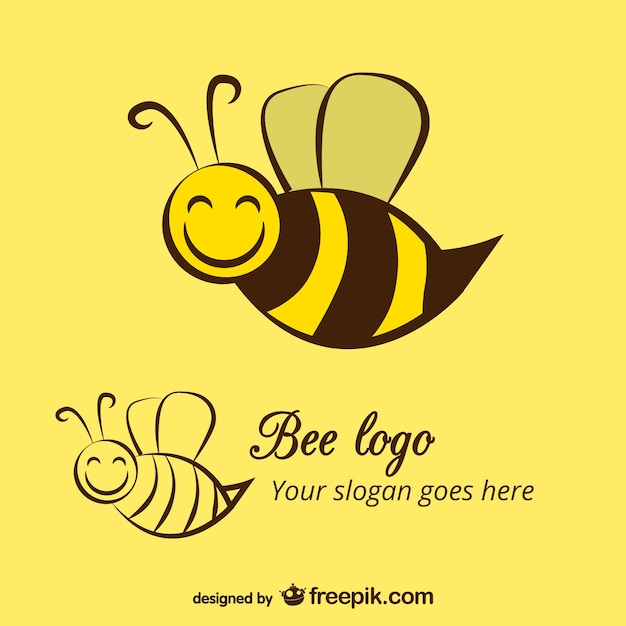 Happy bee logo template Free Vector