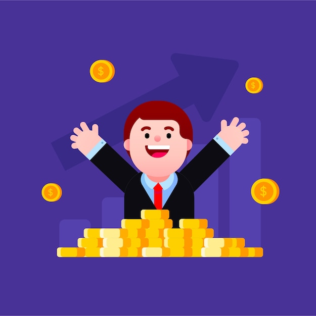 Happy being rich and successful Premium Vector