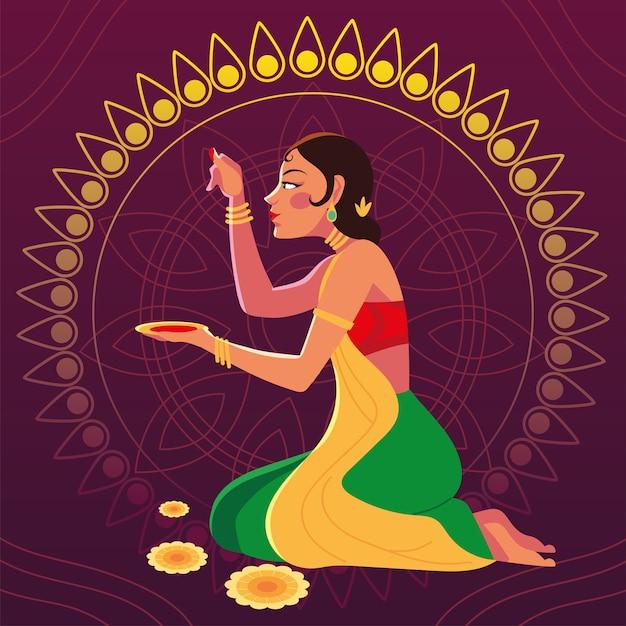 Счастливый бхаи дудж и индийская женщина мультфильм с дизайном чаши, фестивалем и темой празднования Premium векторы