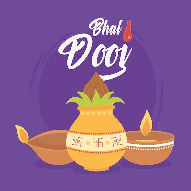 Счастливый бхаи дудж, церемония индийская семейная праздничная открытка иллюстрация Premium векторы