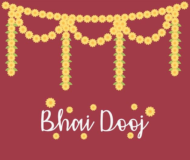 Happy bhai dooj, декоративный цветочный орнамент гирлянды, иллюстрация празднования индийской семьи Premium векторы