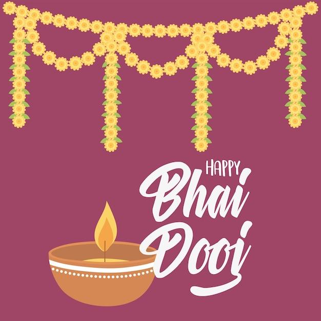 Счастливый бхаи дудж, свет лампы дия и цветочная гирлянда, иллюстрация празднования индийской семьи Premium векторы