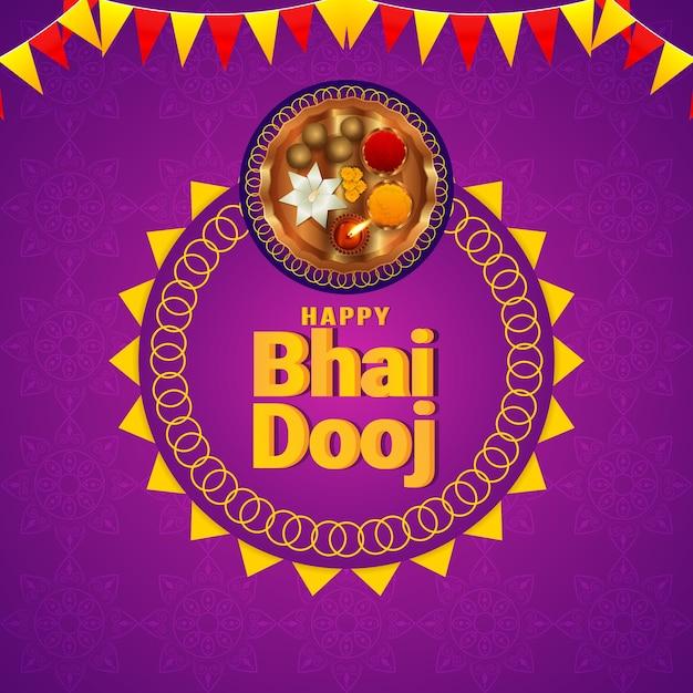 Фестиваль индийского семейного праздника happy bhai dooj Premium векторы