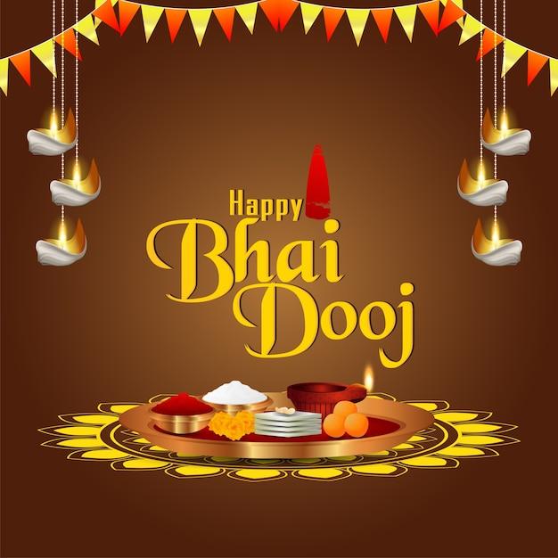 Праздник индийской семьи happy bhai dooj с творческой пуджей тхали Premium векторы