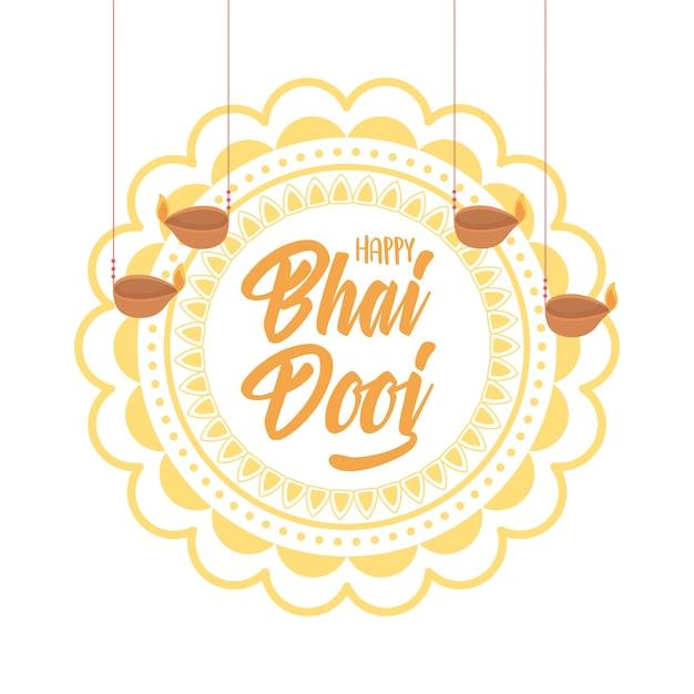 Счастливый бхаи дудж, индийский семейный праздник цветочная мандала и висячие лампы дия Premium векторы