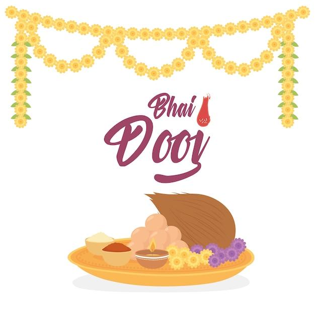 Счастливый бхаи дудж, индийская семейная еда и украшение из цветочных цветов Premium векторы