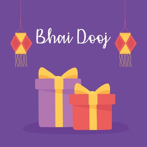 Счастливый бхаи дудж, индийские семейные праздничные подарки и иллюстрации поздравительной открытки фонари Premium векторы