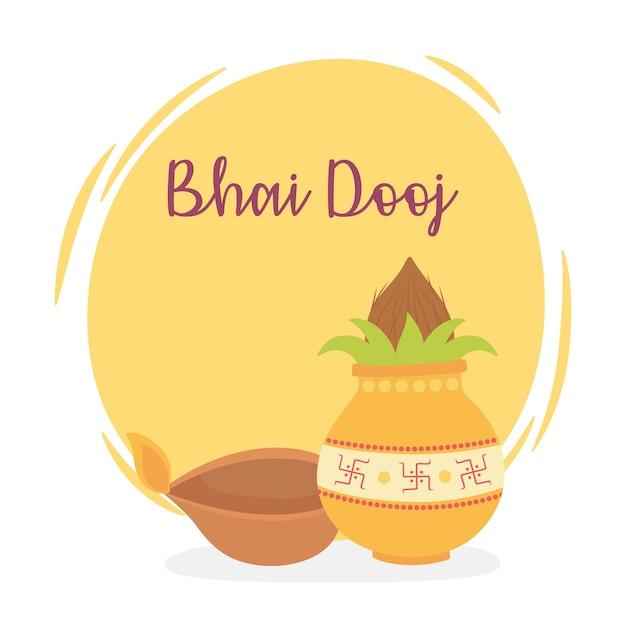 Счастливый бхаи дудж, индийское семейное торжество, отношения сестер и братьев, иллюстрация Premium векторы