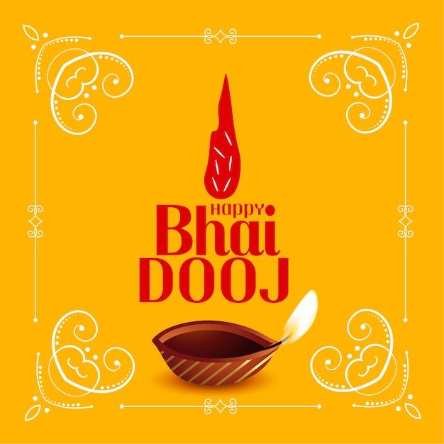 Happy bhai dooj traditional festival card Free Vector