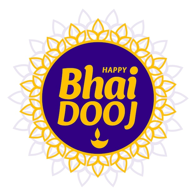 Happy bhai dooj traditional greeting card Free Vector