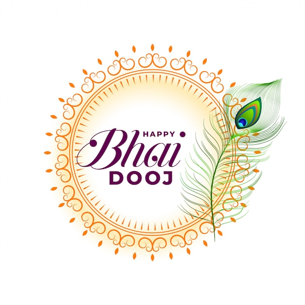 Happy bhai dooj wishes greeting card Free Vector