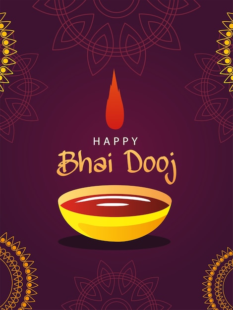 Счастливый бхаи дудж с чашей для бинди и дизайном мандал, фестивалей и праздничной тематикой Premium векторы
