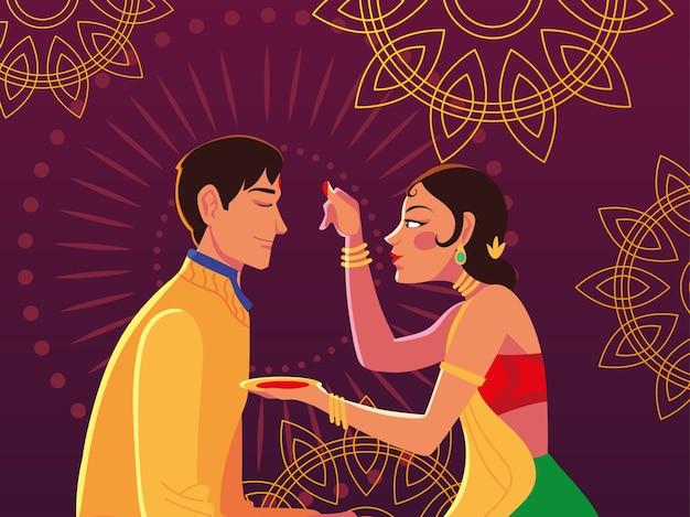 Счастливый бхаи дудж с индийским мультяшным дизайном мужчины и женщины, тема фестиваля и празднования Premium векторы