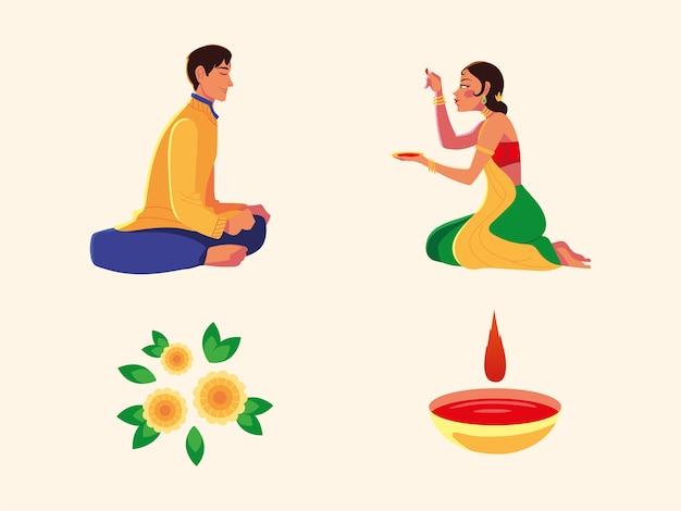Счастливый бхаи дудж с индийскими мужчинами и женщинами, мультяшными рисовальщиками и дизайном чаш, фестивалем и праздничной темой Premium векторы