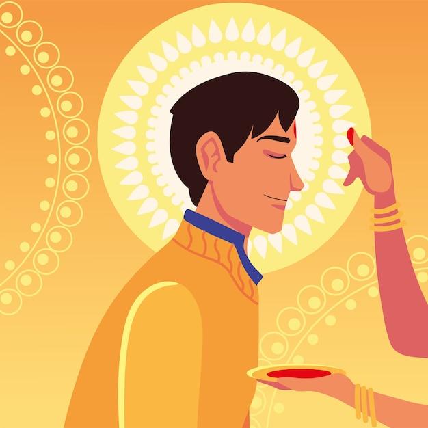 Счастливый бхаи дудж с мультяшным индийским мужчиной с женской рукой, касающейся его лба, дизайн, фестиваль и тема празднования Premium векторы