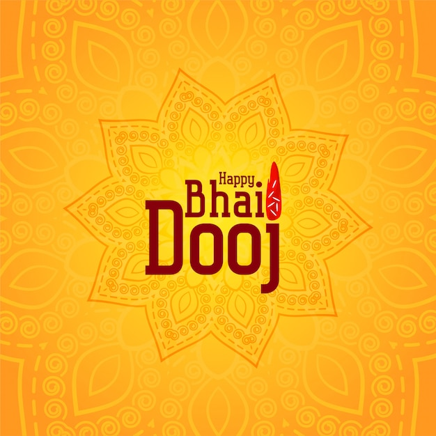 Happy bhai dooj желтый декоративные иллюстрации Бесплатные векторы