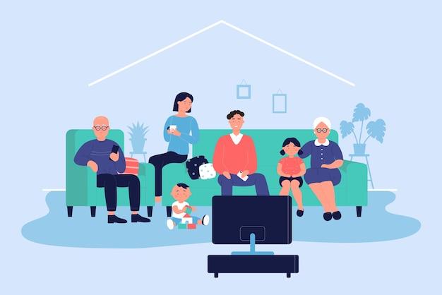 Счастливая большая семья дома иллюстрации. взрослые персонажи мультфильмов и дети вместе сидят на диване и смотрят теленовости или фильмы в гостиной. семья расслабиться на фоне вечернего времени Premium векторы