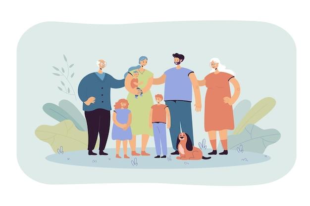 행복 한 큰 가족 함께 서 있고 평면 그림을 웃 고. 만화 아버지, 어머니, 할머니, 할아버지, 어린이 및 개 무료 벡터