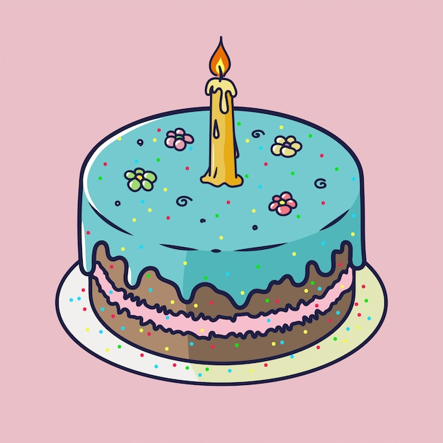 Happy birthday anniversary card with cupcake and one candle in bright design style Premium Vector