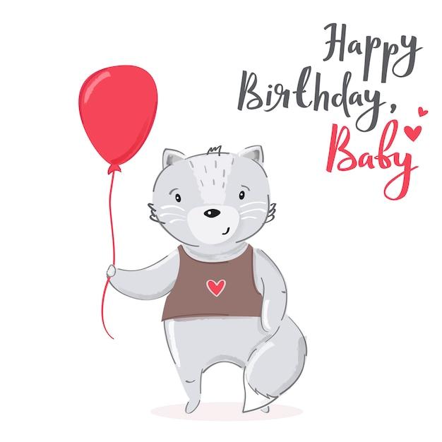 Premium Vector Happy Birthday Baby Cartoon Cat Card Design