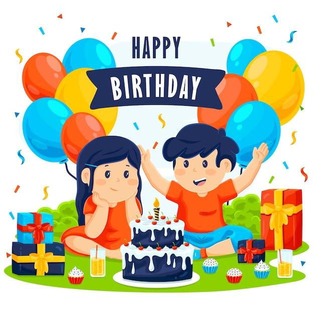 Buon compleanno sfondo design Vettore gratuito