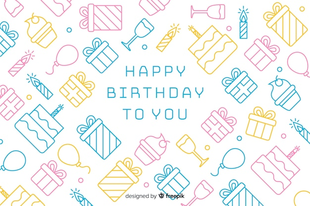 Happy birthday background in flat style Free Vector