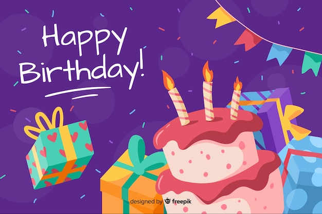 Happy birthday background hand drawn Free Vector