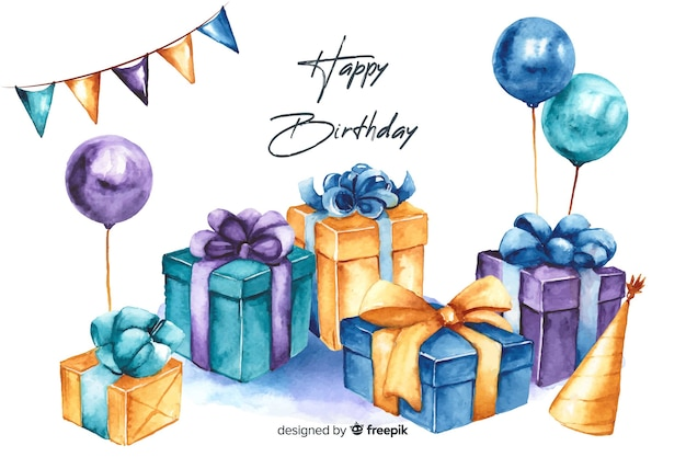 Happy birthday background in watercolor style Free Vector