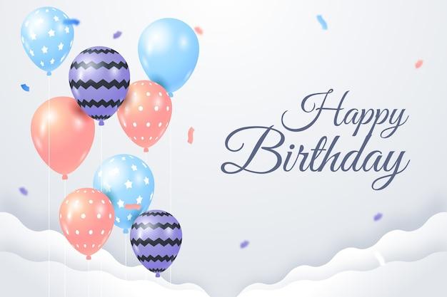 С днем рождения фон с воздушными шарами и конфетти Бесплатные векторы