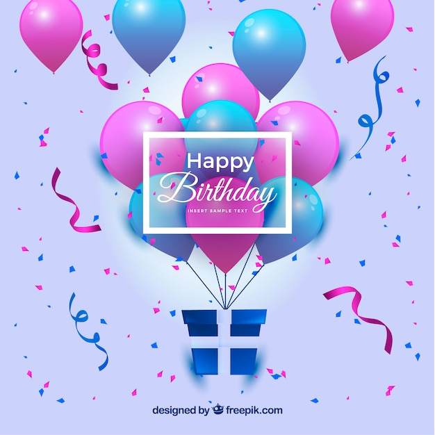 Happy birthday background with balloons and gift vector free happy birthday background with balloons and gift free vector negle Choice Image