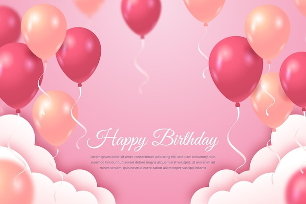 Happy birthday background with balloons and clouds Free Vector