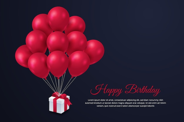 Happy birthday background with balloons and gift Free Vector