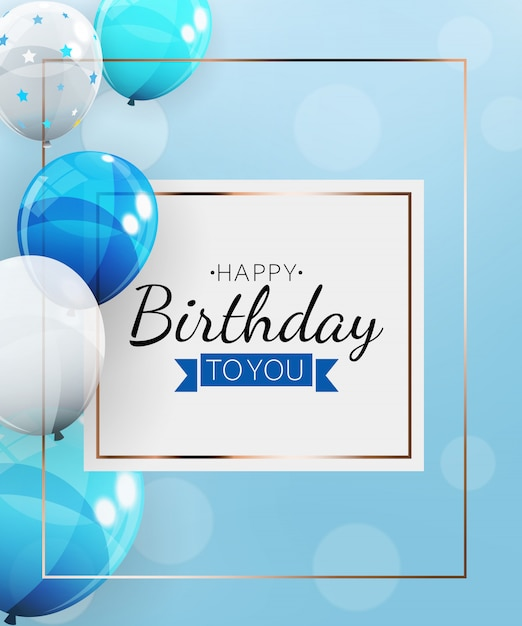 Happy birthday background with balloons.  illustration Premium Vector