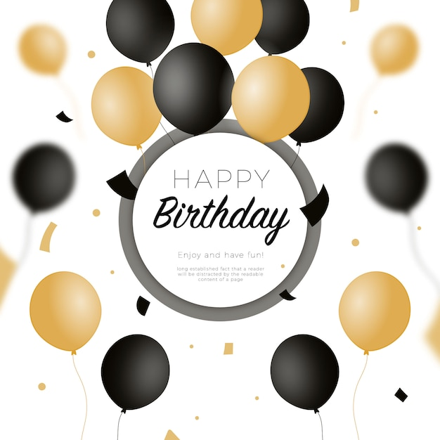 Happy birthday background with black and golden balloons Free Vector